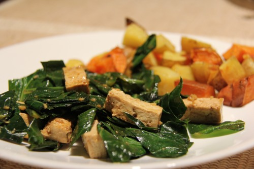 Ann Arbor Food Collard's and Tofu with garden roasted potatoes